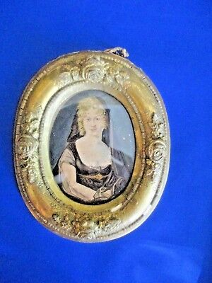 Antique Italian Gesso Framed Hand Painted Portrait  Miniature of Lady  FREEPOST