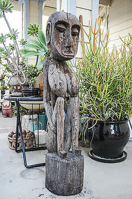 Mid Century Large Vintage Primitive Tribal Wood Hand Carved Woman Statue