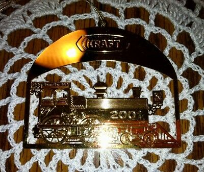 RARE Gold Train Ornament ~ Engraved Metal Collectible KRAFT Foods ~ Holiday 2001
