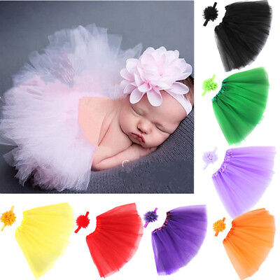 Newborn Baby Girl Flower Headband+ Tutu Skirt Photo Prop Photography Costume