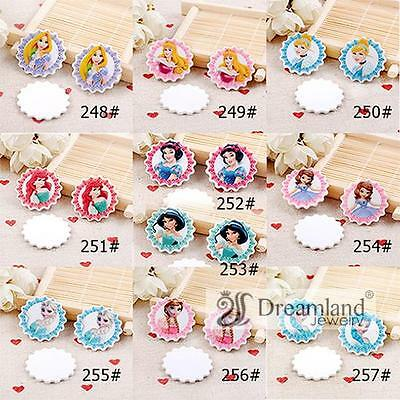 50pcs/lot 31MM New Arrival fashion princess flat back cartoon planar resin for h