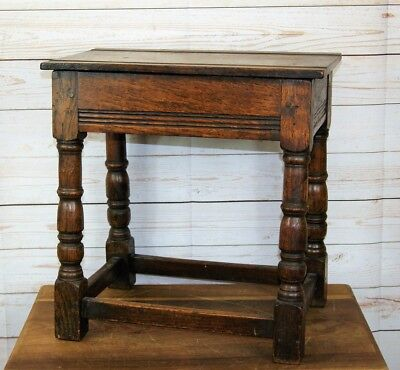 Traditional Antique Oak Joint Tavern Stool Hinged Lid,Side Occasional Lamp Table
