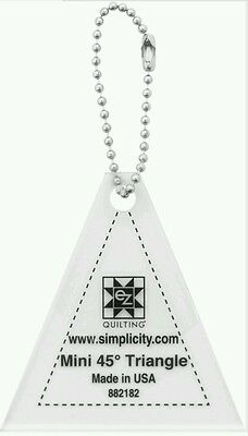 """45 DEGREE TRIANGLE MINI TEMPLATE KEYCHAIN 2.5"""" QUILTING,sewing,bunting bnew"""