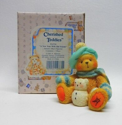 """Enesco Cherished Teddies, """"A New Year with Old Friends"""", January Bear, 1993"""