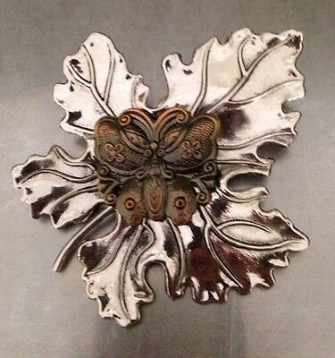 Sylvia Dahl BUTTERFLY ON A MAPLE LEAF BROOCH SCARF CLIP SIGNED HEAVY WELL MADE