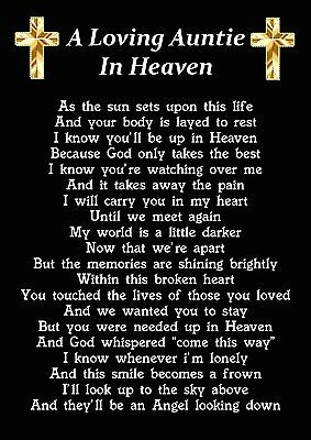 A Loving Auntie In Heaven Memorial Graveside Poem Card With Ground Stake F232