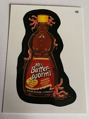 2014 Topps Wacky Packages Series 1 Mrs. Butter Worms #42 Worm Mucus Syrup Card
