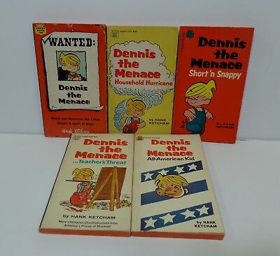 Dennis The Menace Lot of 5 Paperback Books from the 1960's