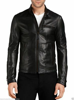 Men's Genuine Lambskin Leather Motorcycle Slim fit Biker Jacket for men VLJ#630