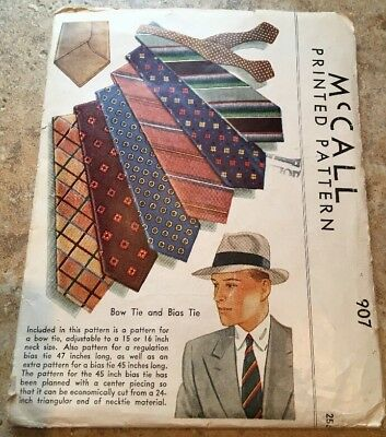 McCALL'S VINTAGE TIE PATTERN 907 - UNCUT and VERY RARE