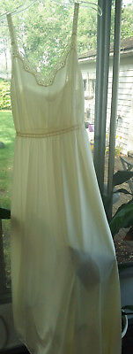Vintage Vanity Fair* Long Lemon Yellow Gown* Stretch* Large*