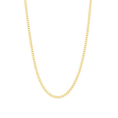 "14k Yellow Gold Hollow 2mm Cuban Curb Link Chain Necklace 16""-26"""