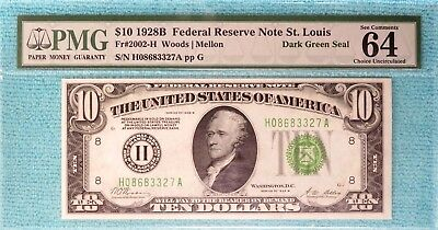 1928-B $10 CU-64 EPQ H- St.Louis Fr#2002-H FRN Redeemable Gold Uncirculated Unc
