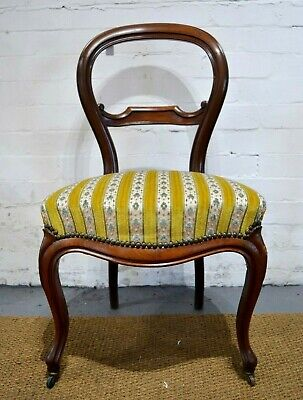 Antique French Louis Style Victorian Balloon Back Salon / Bedroom chair
