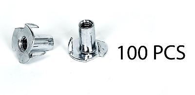 TCH Hardware 100 Pack 3 Prong  T-Nut 1/4-20 Thread by 9/16 Inch - Tee Blind Nuts