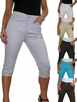 Stretch Cropped Skinny Jeans Turn Up Cuff Chino Sheen NEW 10-22