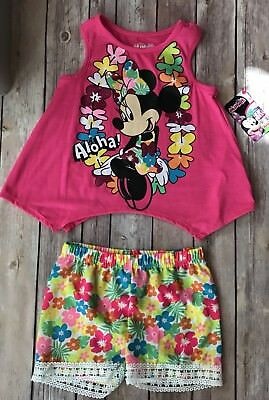 Disney Minnie Mouse Toddler Girl 2 Ps Set-Floral Shorts & Tank Top Size 4T NWT