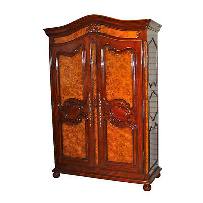 Large Oversized Mahogany double door armoire with burl inlay hand carved