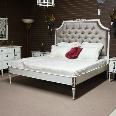Italian King size Bed headboard, rails and footboard White with Gold Leaf Accent