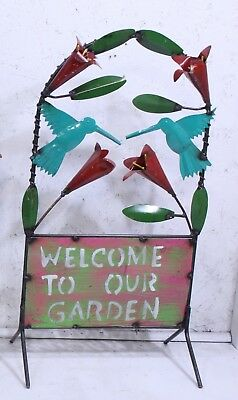 Metal Hummingbird Welcome To Our Garden Standing Trellis Garden Decoration