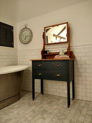 Antique Dressing Table With Mirror - Painted in F&B Railings