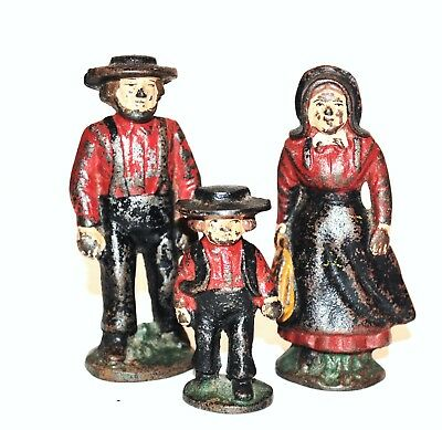 Rare Cast Iron Antique Amish Country Family of Three figurines