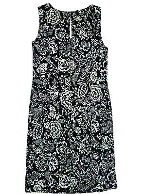 3a8b162d9d NEW Ex M S Linen Blue Green Floral Sleeveless Summer Shift Dress Size 8 - 22