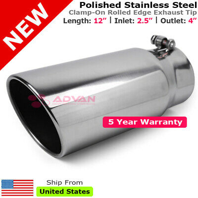 Stainless Truck Angled Black 18 inch Bolt On Exhaust Tip 4 In 7 Out 199289