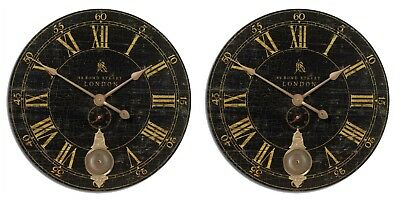 "Two 30"" Weathered Crackled Black Brass Laminated Wall Clock  Vintage Pendulum"