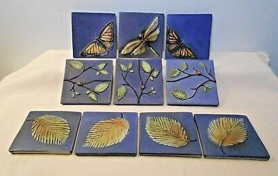Ten Surving Studio High Relief Tiles, Ladybugs, Butterflies, Dragonfly, Leaves