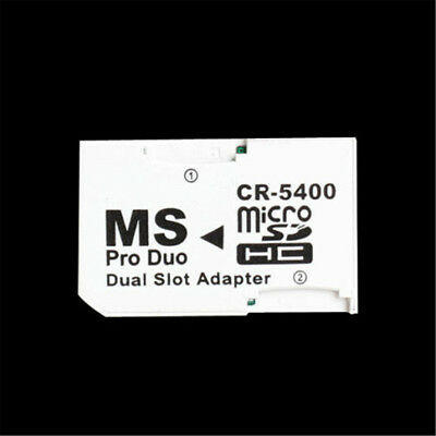 Dual Micro SD TF to Memory Stick MS Pro Duo PSP Card 2 Slot Adapter Converter