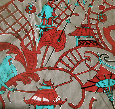 Vintage Rare Tressard Chinoiserie Pagoda Monkey Cotton Fabric~Gray Turquoise Red