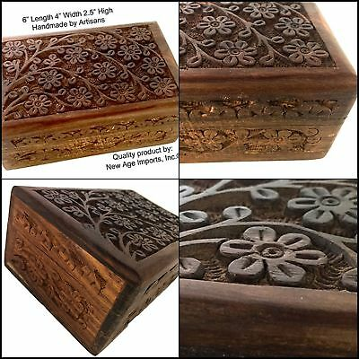 """Wooden Box for Jewelry Coins Cards Small Treasures URN Handmade Floral 4"""" x 6"""""""