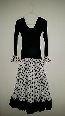 Flamenco Polyester Dress - Black & White Polka Dot Size Adult Small