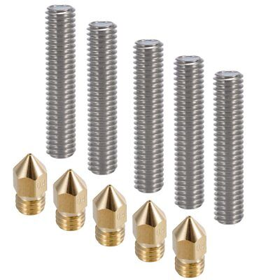 5pc Extruder Nozzles Heads With Tubes For Anet A8 MK8 Makerbot Reprap 3D Printer