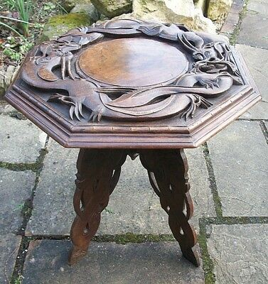 Stunning  Antique Chinese  Folding Wooden  Table With Stunning Dragon  Top