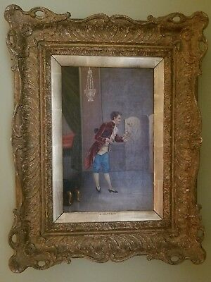 Antique oil on canvas MAN WITH THE FLOWER, signed  E. MARESCA