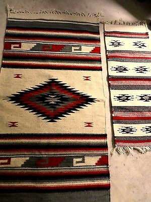 Zapotec Mexican Pure Wool Loom Woven Southwester Rug Plus Runner Red