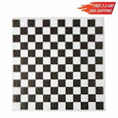 Dry Waxed Deli Paper Liners Sheets for Plasic Food Basket (100, Black Checkered)