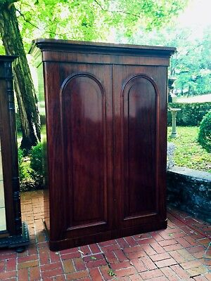 English Figured Mahogany Armoire with Fitted Interior