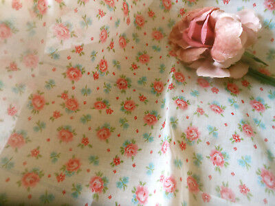 Antique Vintage Pink Blue Roses Floral Sheer Batiste Cotton Fabric ~ dolls