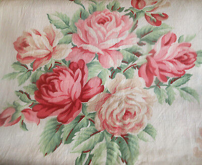 Antique Vintage Pink Shabby Cottage Roses Cotton Fabric ~