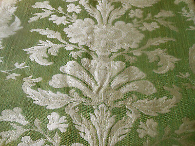 Vintage French Green Floral Scroll Jacquard Tapestry Upholstery Fabric
