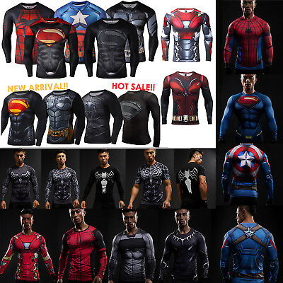 0a403f3e66153 3D Marvel Super Hero Long Sleeve Compression Sport Fitness T-shirt Mens  Clothing
