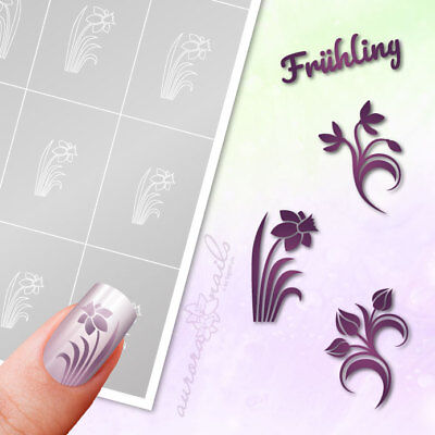 Stencils Airbrush + Nailart set89 Spring Flowers Floral Easter Adhesive Set