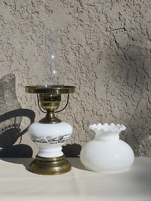 """Vintage 3 Way Lamp - White Glass Hurricane Shade ~ Currier & Ives Font 20"""" Tall"""