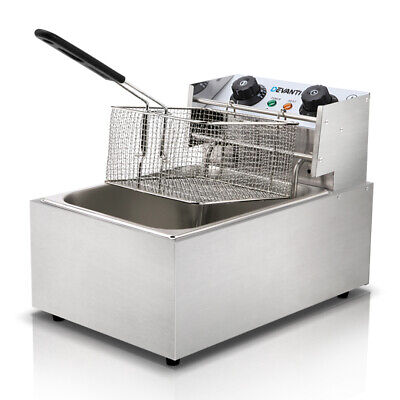5 Star Chef Commercial Stainless Steel Deep Fryer With Single Basket Bench Top