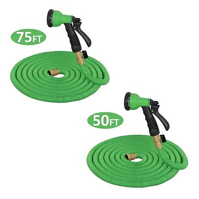 50/75 ft Expanding Flexible Garden Water Hose Latex Tube with Spray Nozzle