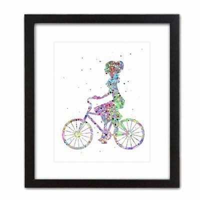 Pop Art Print BICYCLE RIDE Watercolor Abstract Colorful Cute Girl Bedroom Woman