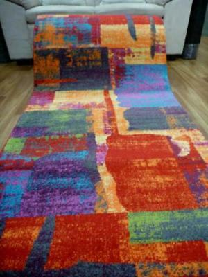 Hallway Runner 80cm wide by the Meter Bright Multi Coloured Modern Design Diamon